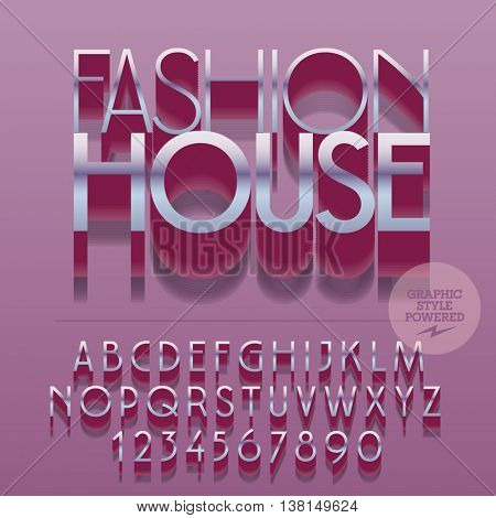 Set of slim reflective alphabet letters, numbers and punctuation symbols. Vector silver logotype with text Fashion house. File contains graphic styles