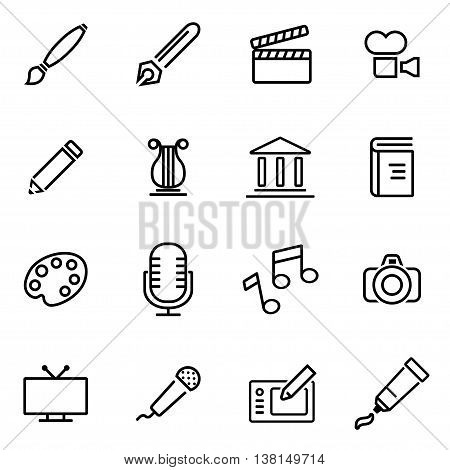 Vector illustration of thin line icons - art on white background