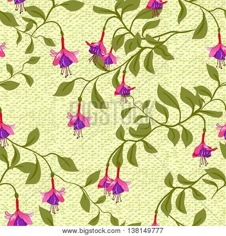 Vintage wallpaper seamless pattern with fuschia flower. Can be used for fabric design. Vector illustration