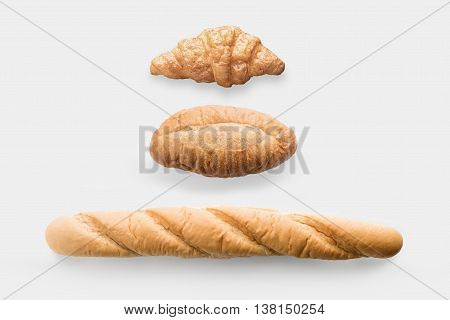 Mock Up Bread Rolls Set Isolated On White Background. Clipping Path Included On White Background