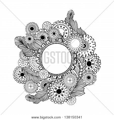 Hand drawn circle frame for photo with steampunk technology elements. Doodle style design