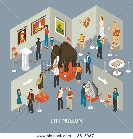 Cultural history city center museum exhibits galleries with antique archaeological finds isometric composition poster abstract vector illustration