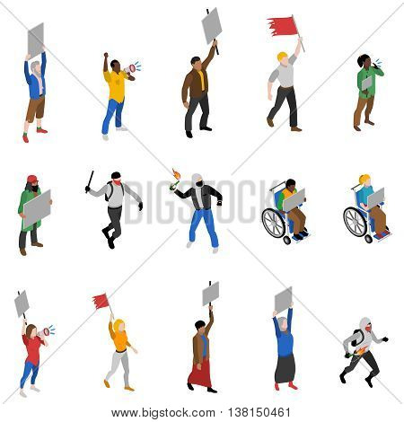 Protest march rally and static nonviolent demonstration participants with  streamers isometric icons set abstract isolated vector illustration