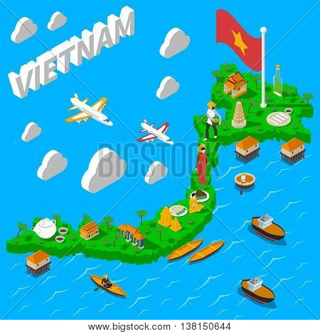 Vietnam map for tourists with national flag food landmarks and cultural symbols isometric poster abstract vector illustration