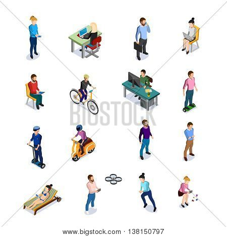 Isometric people icons set with men and women using different kinds of transport and electronic devices on white background