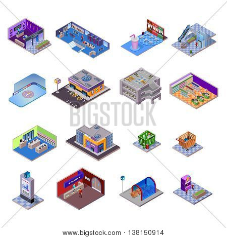 Shopping mall objects set with different departments and related elements on white background isolated isometric vector illustration