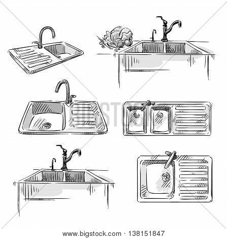 Set of kitchen sinks. Hand drawn vector illustration fully editable.