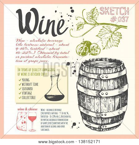 Wine set. Winemaking products in sketch style. Vector illustration with wine barrel wine glass grapes grape twig. Classical alcoholic drink.