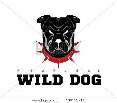 Dog head. Wild dog. Black wild dog. Rottweiler. Bulldog