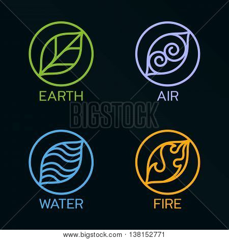 Nature 4 elements circle line logo sign. Water Fire Earth Air. on dark background.