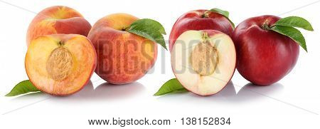 Peach Nectarine Peaches Nectarines Fruit Fresh Fruits Isolated On White