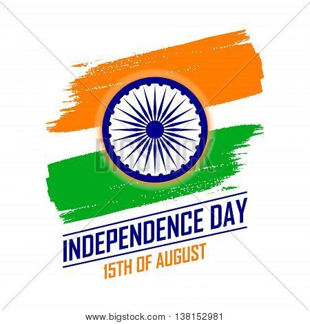 India Independence Day leaflet concept in traditional colors - saffron green navy blue.