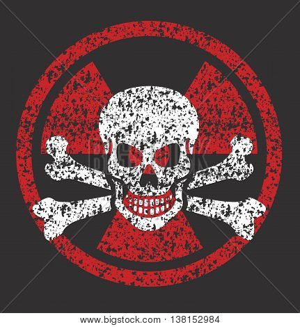 Distressed grunge vector illustration of nuclear symbol with skull and bones.