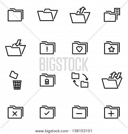 Vector illustration of thin line icons - folder on white background