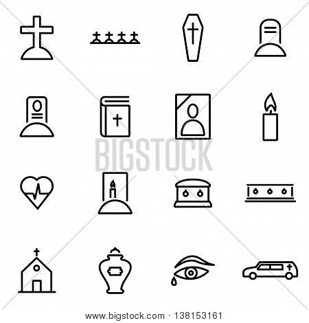 Vector illustration of thin line icons - funeral on white background