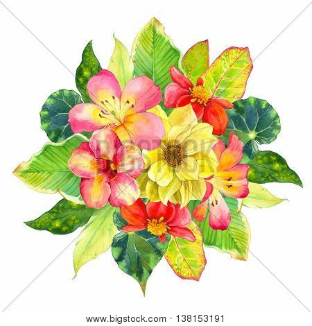 Beautiful bouquet with tropical flowers and plants on white background. Composition with dahlia lily begonia palm and croton leaves.
