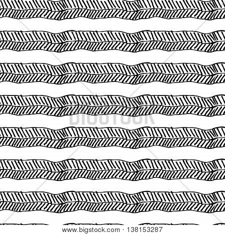 Hand drawn seamless pattern, vector texture for handmade design. Black mono color art.