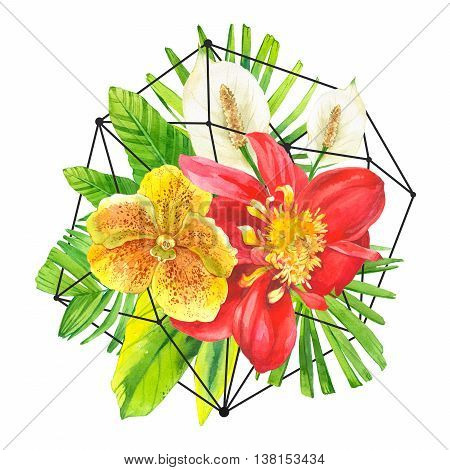 Bouquet with tropical plants on black and white background with geometric pattern. Composition with lily dahlia orchid and begonia leaves.