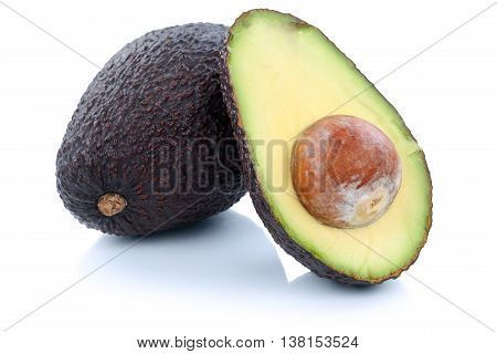 Avocado Avocados Fruit Sliced Half Fruits Isolated On White