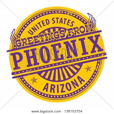 Grunge rubber stamp with text Greetings from Phoenix, Arizona, vector illustration