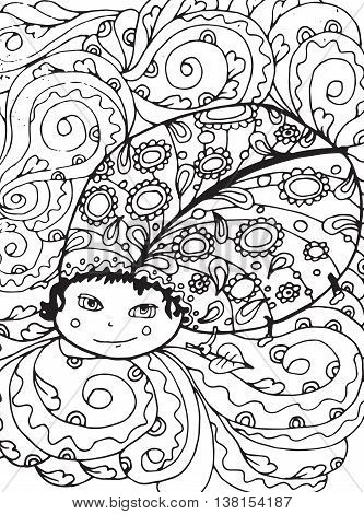 Bug coloring page. Adult coloring page design with Bug. Black and white mono  color illustration