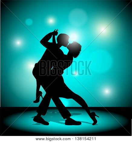 Vector illustration. A couple dancing the tango.