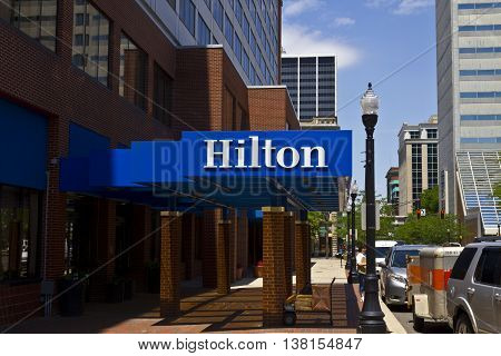 Ft. Wayne IN - Circa July 2016: Downtown Hilton Hotel Location. Hilton is a global brand of full-service hotels II