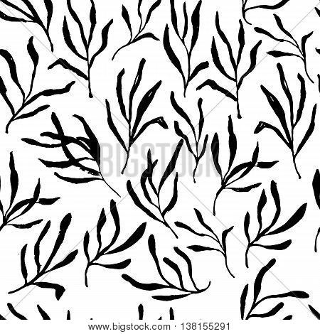Estragon therapeutic green leaf branch. Isolated vector seamless pattern, illustration.