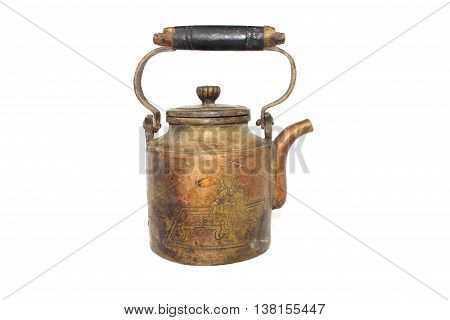 teapot brass chines style on isolated white background
