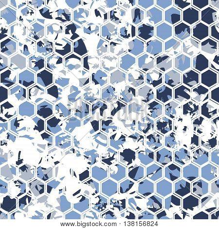 Hexagonal camouflage.Vector digital gexagonal camo seamless pattern