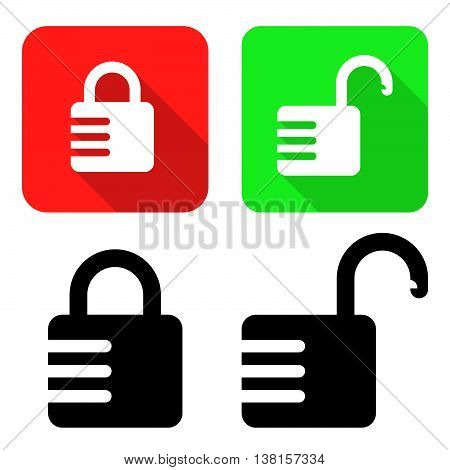 Closed And Open Combination Locks. Vector Illustration Of Closed And Open Combination Locks With Their Color Variations