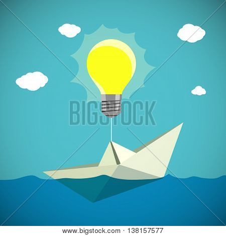 Paper Boat hanging on the light bulb. Stock vector illustration.