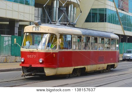 Old tram Tatra T3 on the street of Podol district in the historical center of Kiev.July 12, 2016 Kiev, Ukraine