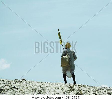 Alone indian pilgrim