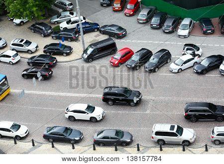 Traffic jam in city street road