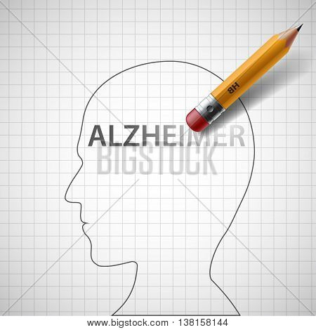 Pencil erases the word Alzheimer in the human head. Stock vector illustration.
