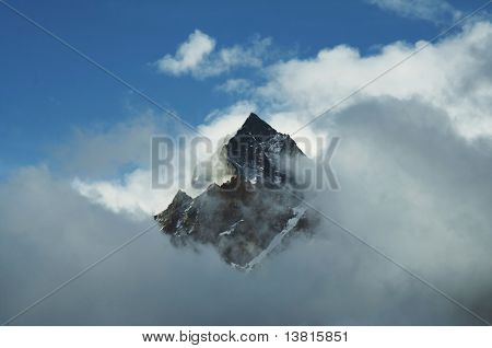 Mount peak in clouds in Himalayan