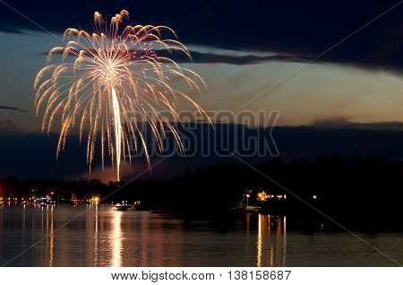 steamboat bay in east gull lake during fourth of july fireworks celebration over lake