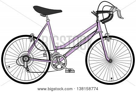 Illustration of a women ten speed bicycle.