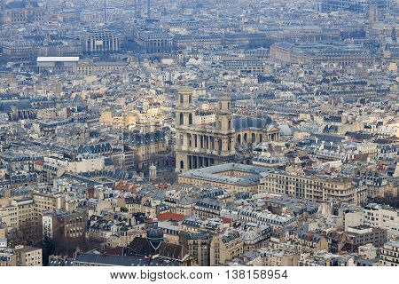 Famous church of Saint-Sulpice in Paris, France, view from top