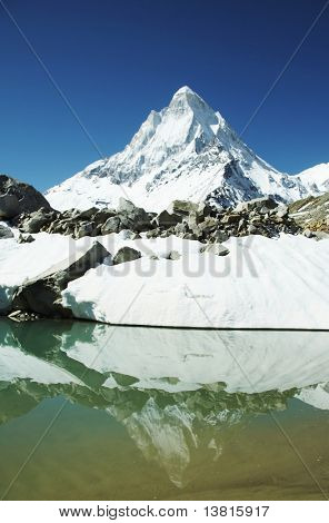 Shivling peak reflection in blue lake