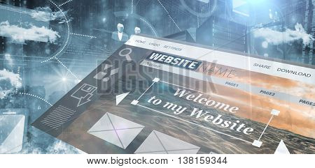 Composite image of website interface against composite of digital image of skyscrapers