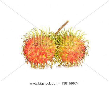 Fresh rambutan isolated on a white background.