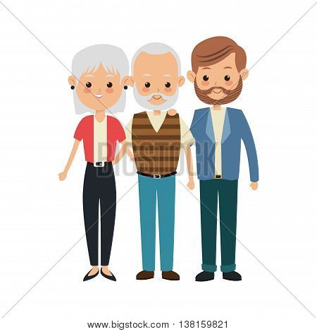 Family cartoon concept represented by grandparents with son icon. Isolated and Colorfull illustration.