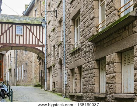 The medieval street in Intramuros - Internal City of Saint Malo. Brittany, France
