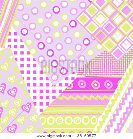 Patchwork cover for baby girl with dots