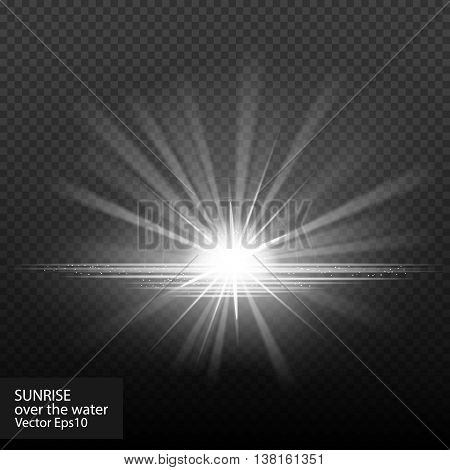 Sunrise over the water. Sunset. Really transparent effects. Vector stock illustration. Dawn, halo, sunlight fx