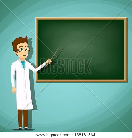 Man in white lab coat standing next to the board. Stock Vector cartoon illustration.