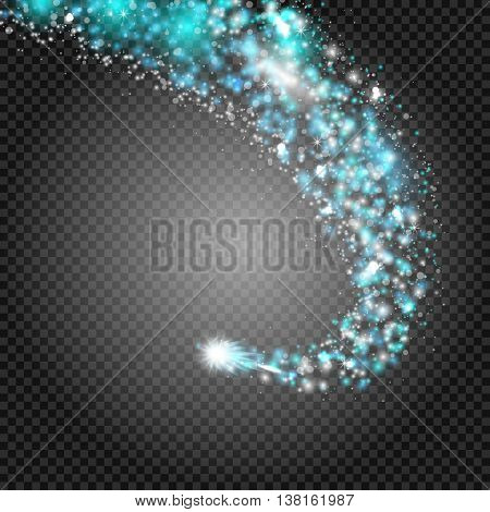 A bright comet with large dust. Falling Star. Really transparent effect. Glow light effect. Blue lights. Vector illustration