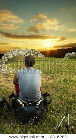 Paisajes de Resumen de hombre en puesta de sol